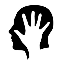 Head with hand vector