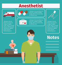 anesthetist and medical equipment icons vector image vector image
