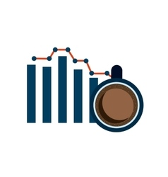 bars statistics with business icon vector image vector image
