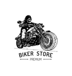 Biker store advertising poster hand drawn vector