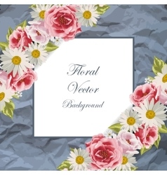 Blue frame with flowers vector image vector image