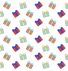 Cartoon gift boxes pattern on white background vector image