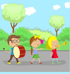 children go on the road and play instruments vector image vector image