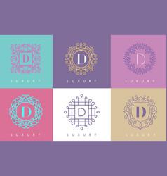 D letter pastel floral monogram lines logo design vector