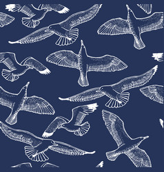 dark seagull seamless pattern vector image