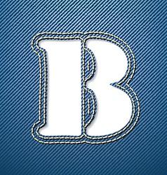 Denim jeans letter B vector image