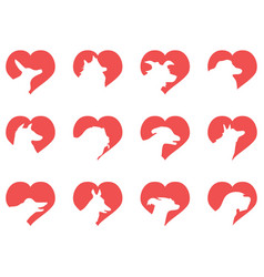 dog head heart icons vector image vector image