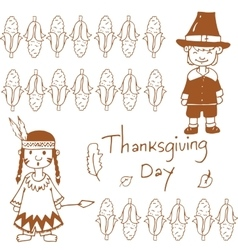 Doodle of Thanksgiving day corn vector image
