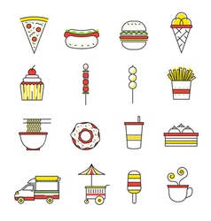 Fast food line with color icons set vector