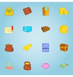 Finance icons set cartoon style vector