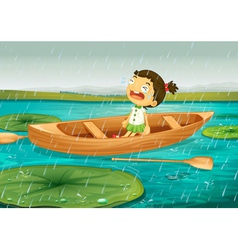 girl and boat vector image vector image