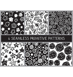 Hand drawn black and white doodle seamless pattern vector image vector image