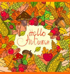 hello autumn season banner with hand draw vector image