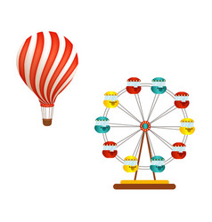 Hot air balloon and ferris wheel in amusement park vector