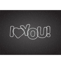 I love you text on dark textured background vector