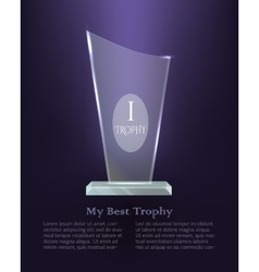My Best Trophy Modern Realistic Award on Base vector image