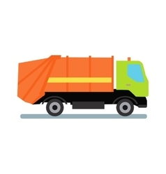 Orange garbage truck vector