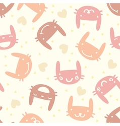 Pastel seamless pattern with cute bunny vector