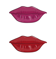 pink and red lips vector image