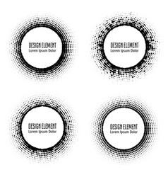Pop art halftone logo circles set vector