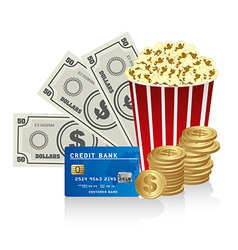 Pop corn with credit card bills and coins vector