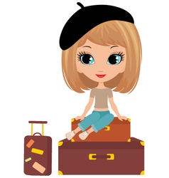 Pretty girl on suitcase vector