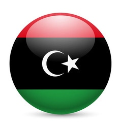 Round glossy icon of libya vector