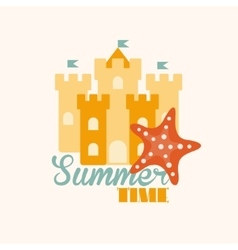 Sand castle in flat style vector