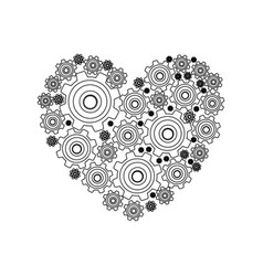 Silhouette heart shape with pinions and gears set vector