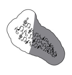 Sticker silhouette set musical notes vector