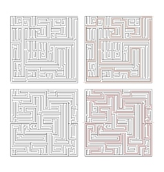 Two different mazes of high complexity on white vector image