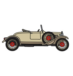 Vintage cream small cabriolet vector image