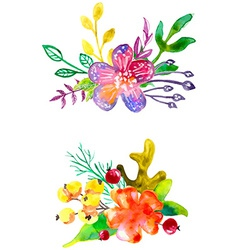 Watercolor flower compositions vector