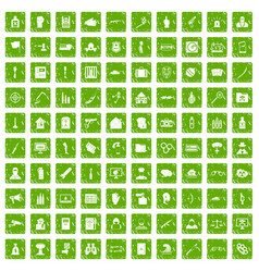 100 violation icons set grunge green vector image