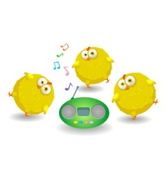 Three funny chicken dance vector
