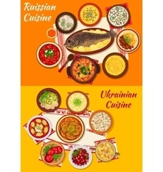 Russian and ukrainian cuisine lunch menu icon vector