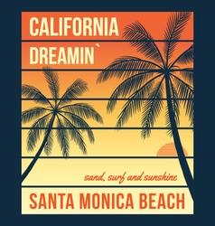 california t shirt graphics with palms santa vector image