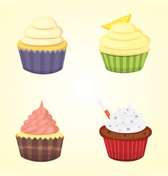 set of cute cupcakes and muffins colorful vector image