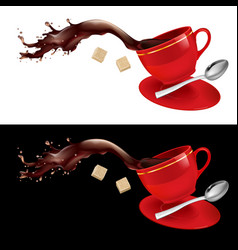 Coffee in red cup on white and black background vector