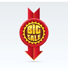 Red sale badge with shadow on white background vector