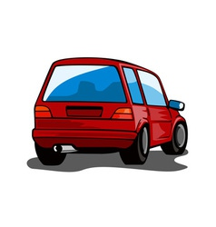 Red car station wagon back view vector