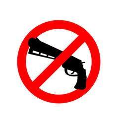 Stop gun prohibited arms red circle road sign ban vector
