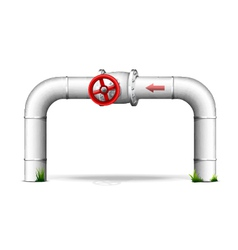 Pipe with red valve vector