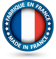 Made in France blue label with flag vector image