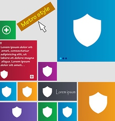 Shield protection icon sign metro style buttons vector