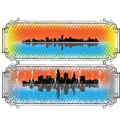 City skyline and silhouettes vector