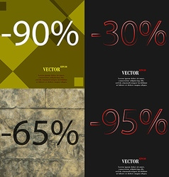 30 65 95 icon set of percent discount on abstract vector