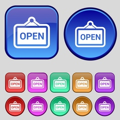 Open icon sign a set of twelve vintage buttons for vector