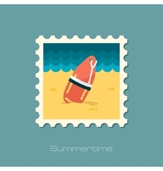 Torpedo rescue lifeguard buoy flat stamp vector