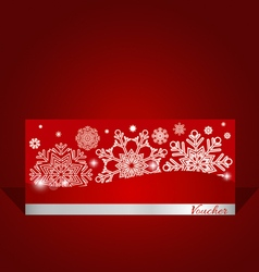 Holiday gift coupons with snowflake background vector